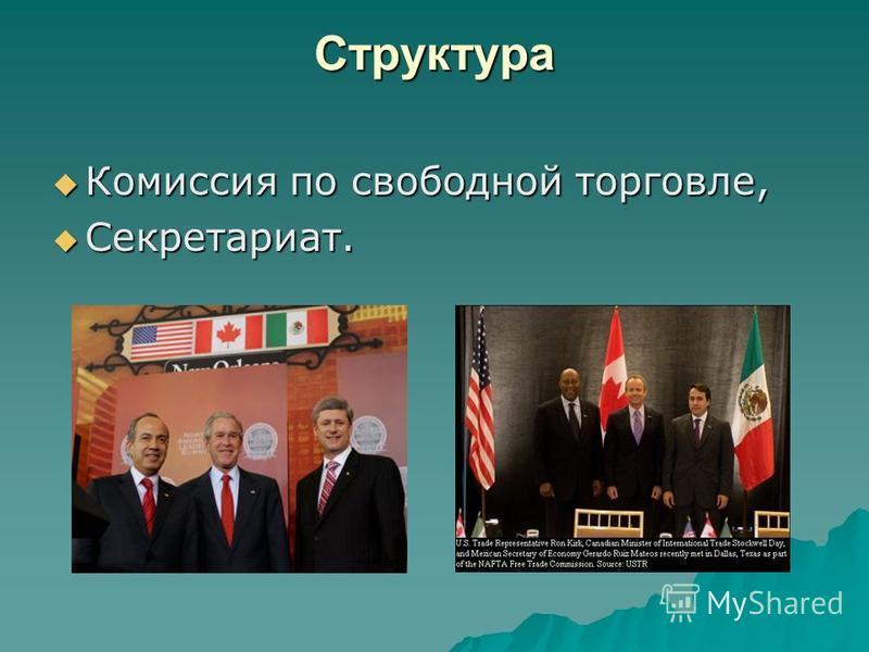Структура Комиссия по свободной торговле, Комиссия по свободной торговле, Секретариат. Секретариат.