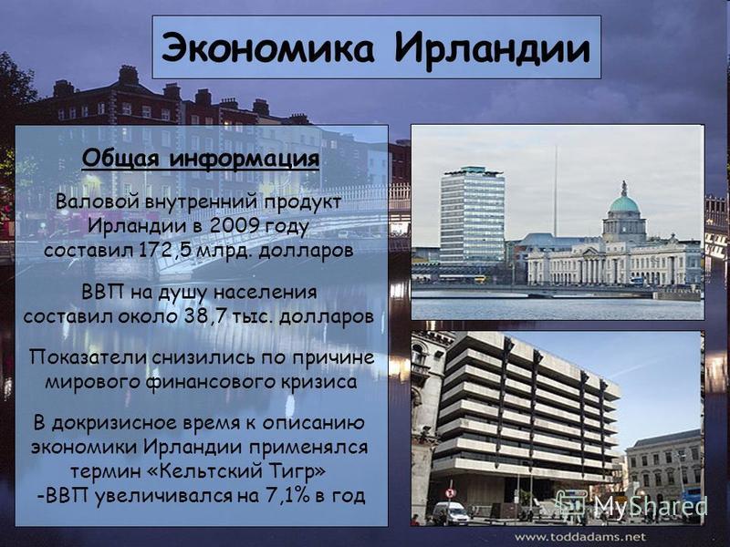 Экономика Ирландии Общая информация Валовой внутренний продукт Ирландии в 2009 году составил 172,5 млрд. долларов ВВП на душу населения составил около 38,7 тыс. долларов Показатели снизились по причине мирового финансового кризиса В докризисное время