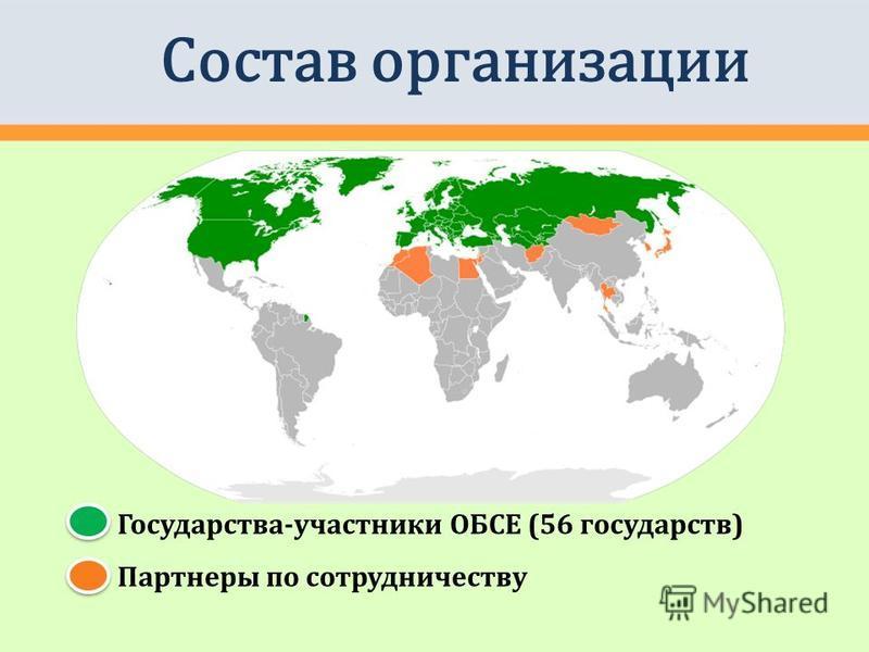 Государства-участники ОБСЕ (56 государств) Партнеры по сотрудничеству Состав организации