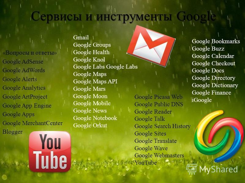 Сервисы и инструменты Google «Вопросы и ответы» Google AdSense Google AdWords Google Alerts Google Analytics Google ArtProject Google App Engine Google Apps Google MerchantCenter Blogger Gmail Google Groups Google Health Google Knol Google Labs Googl