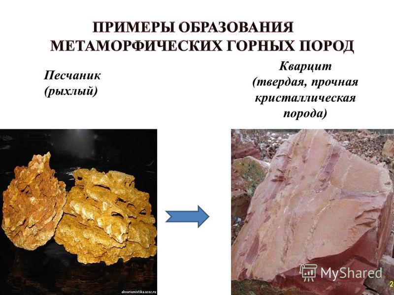 Песчаник (рыхлый) Кварцит (твердая, прочная кристаллическая порода)