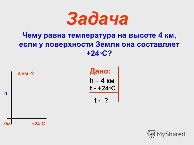 Задача Чему равна температура на высоте 4 км, если у поверхности Земли она составляет +24С? 0 м 4 км -? +24С h Дано: h – 4 км t - +24С t - ?