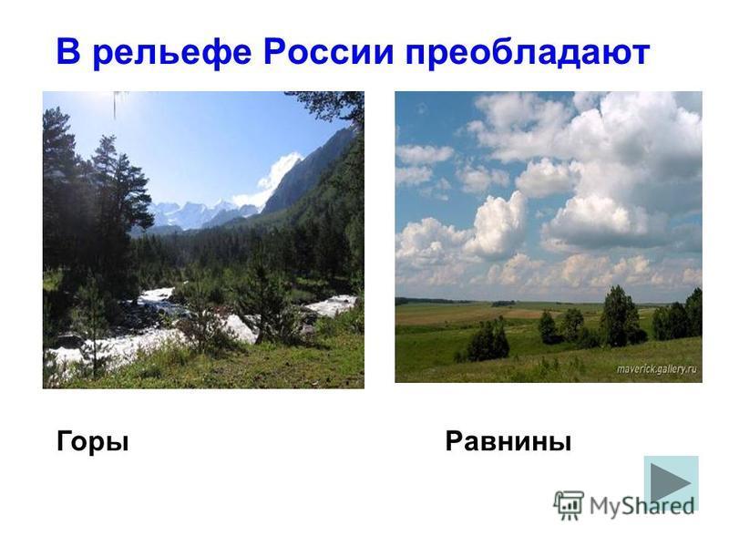 В рельефе России преобладают Горы Равнины