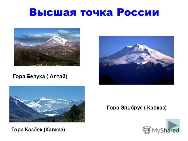 Высшая точка России Гора Белуха ( Алтай) Гора Казбек (Кавказ) Гора Эльбрус ( Кавказ)