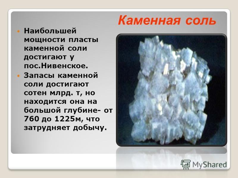 Наибольшей мощности пласты каменной соли достигают у пос.Нивенское. Запасы каменной соли достигают сотен млрд. т, но находится она на большой глубине- от 760 до 1225 м, что затрудняет добычу. Каменная соль