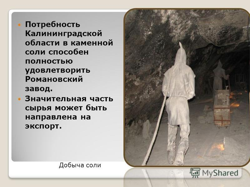 Потребность Калининградской области в каменной соли способен полностью удовлетворить Романовский завод. Значительная часть сырья может быть направлена на экспорт. Добыча соли