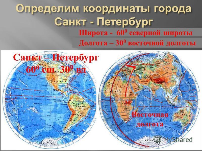 Санкт - Петербург Восточная долгота 30 0 Долгота – 30 0 восточной долготы Санкт – Петербург 60 0 сш 30 0 врд
