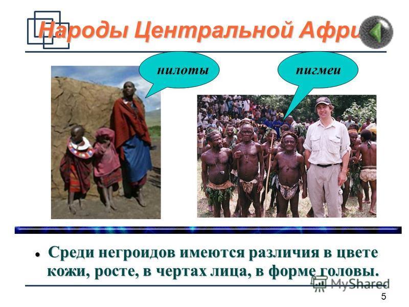 5 Народы Центральной Африки Среди негроидов имеются различия в цвете кожи, росте, в чертах лица, в форме головы. Среди негроидов имеются различия в цвете кожи, росте, в чертах лица, в форме головы. нилотыпигмеи