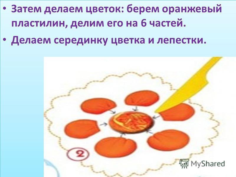 Затем делаем цветок: берем оранжевый пластилин, делим его на 6 частей. Делаем серединку цветка и лепестки. Затем делаем цветок: берем оранжевый пластилин, делим его на 6 частей. Делаем серединку цветка и лепестки.