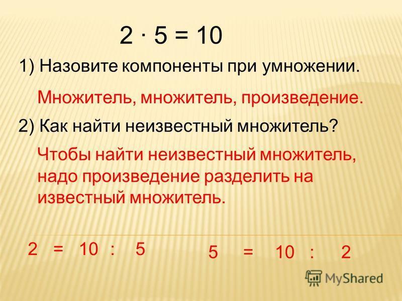 2 · 5 = 10 1) Назовите компоненты при умножении. Множитель, множитель, произведение. 2) Как найти неизвестный множитель? Чтобы найти неизвестный множитель, надо произведение разделить на известный множитель. 2=10:5 5= :2