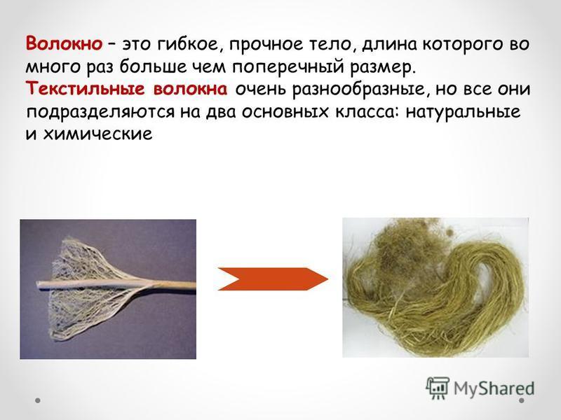 Волокно – это гибкое, прочное тело, длина которого во много раз больше чем поперечный размер. Текстильные волокна очень разнообразные, но все они подразделяются на два основных класса: натуральные и химические