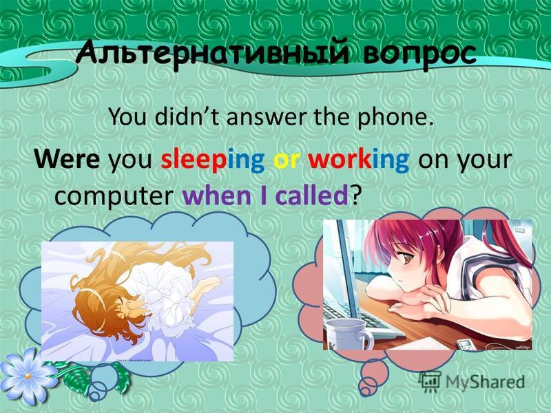 Альтернативный вопрос You didnt answer the phone. Were you sleeping or working on your computer when I called?