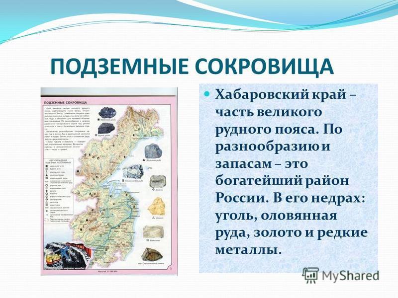 ПОДЗЕМНЫЕ СОКРОВИЩА Хабаровский край – часть великого рудного пояса. По разнообразию и запасам – это богатейший район России. В его недрах: уголь, оловянная руда, золото и редкие металлы.