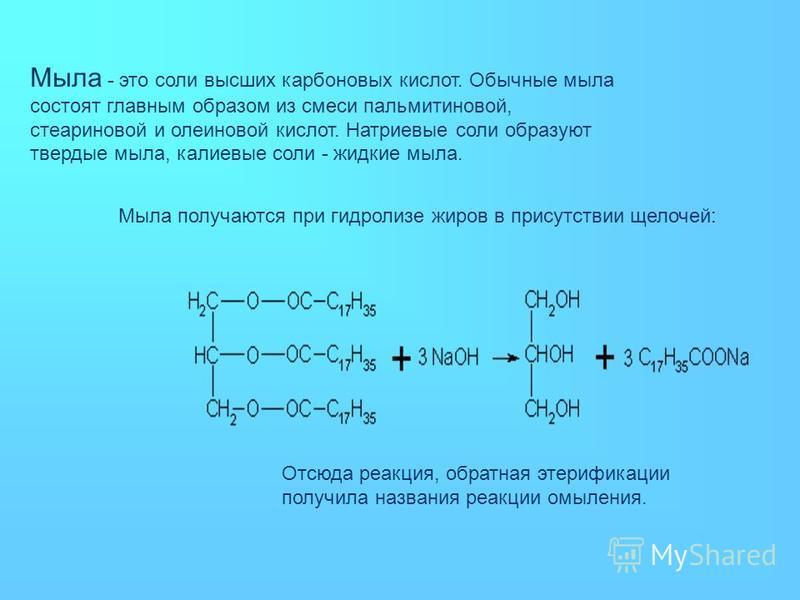 Мыла - это соли высших карбоновых кислот. Обычные мыла состоят главным образом из смеси пальмитиновой, стеариновой и олеиновой кислот. Натриевые соли образуют твердые мыла, калиевые соли - жидкие мыла. Мыла получаются при гидролизе жиров в присутстви