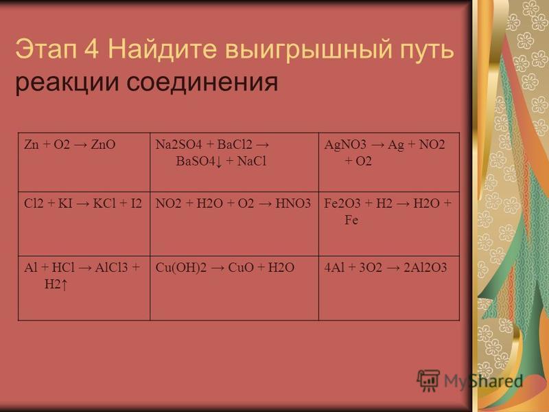 Этап 4 Найдите выигрышный путь реакции соединения Zn + O2 ZnONa2SO4 + BaCl2 BaSO4 + NaCl AgNO3 Ag + NO2 + O2 Cl2 + KI KCl + I2NO2 + H2O + O2 HNO3Fe2O3 + H2 H2O + Fe Al + HCl AlCl3 + H2 Cu(OH)2 CuO + H2O4Al + 3O2 2Al2O3