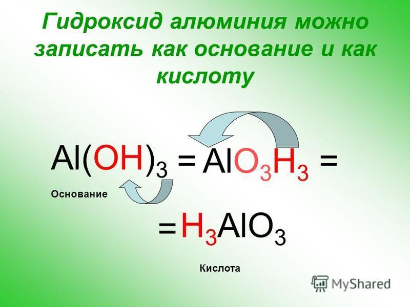 Что наблюдали? Осадки гидроксида алюминия в обеих пробирках растворяются. Вывод: гидроксид алюминия проявляет свойства оснований, взаимодействуя с кислотой, но он также ведет себя и как нерастворимая кислота, взаимодействуя со щелочью, т.е. проявляет
