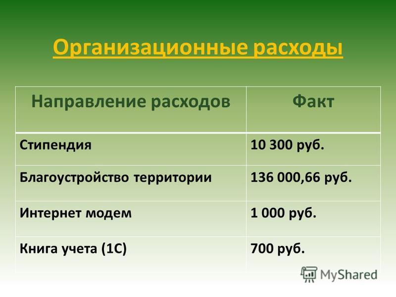 Организационные расходы Направление расходов Факт Стипендия 10 300 руб. Благоустройство территории 136 000,66 руб. Интернет модем 1 000 руб. Книга учета (1С)700 руб.