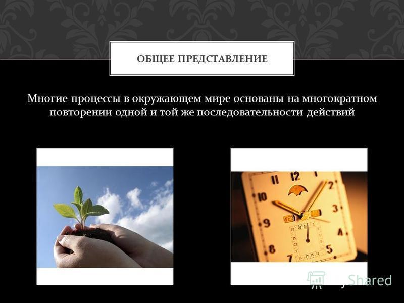 Многие процессы в окружающем мире основаны на многократном повторении одной и той же последовательности действий ОБЩЕЕ ПРЕДСТАВЛЕНИЕ