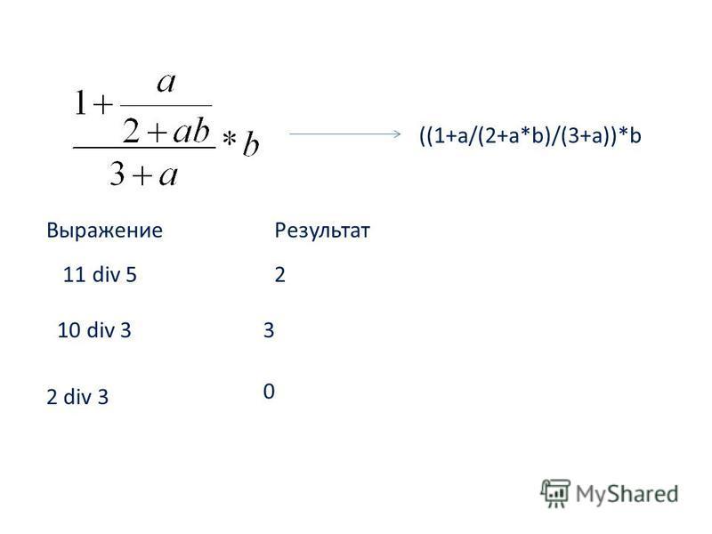 ((1+a/(2+a*b)/(3+a))*b 11 div 5 Выражение Результат 2 10 div 33 2 div 3 0