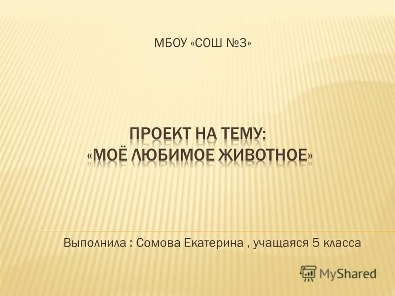 МБОУ «СОШ 3» Выполнила : Сомова Екатерина, учащаяся 5 класса