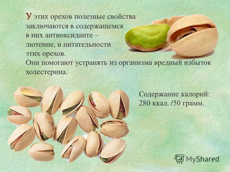 У У этих орехов полезные свойства заключаются в содержащемся в них антиоксиданте – лютеине, и питательности этих орехов. Они помогают устранять из организма вредный избыток холестерина. Содержание калорий: 280 ккал. /50 грамм.