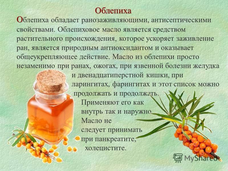 Облепиха О О блепиха обладает ранозаживляющими, антисептическими свойствами. Облепиховое масло является средством растительного происхождения, которое ускоряет заживление ран, является природным антиоксидантом и оказывает общеукрепляющее действие. Ма