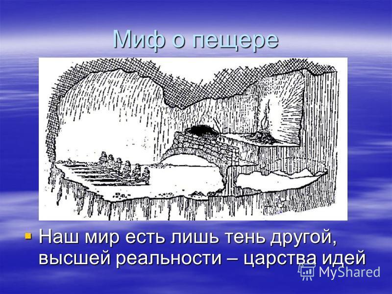 Миф о пещере Наш мир есть лишь тень другой, высшей реальности – царства идей