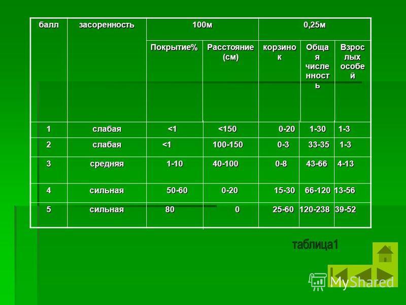 балл засоренность 100 м 0,25 м Покрытие% Расстояние (см) корзинок Обща я численность Взрос лых особей 1 слабая <1 <150 0-20 1-30 1-3 2 слабая <1 100-150 0-3 33-35 1-3 3 средняя 1-10 40-100 0-8 43-66 4-13 4 сильная 50-60 0-20 15-30 66-120 13-56 5 силь