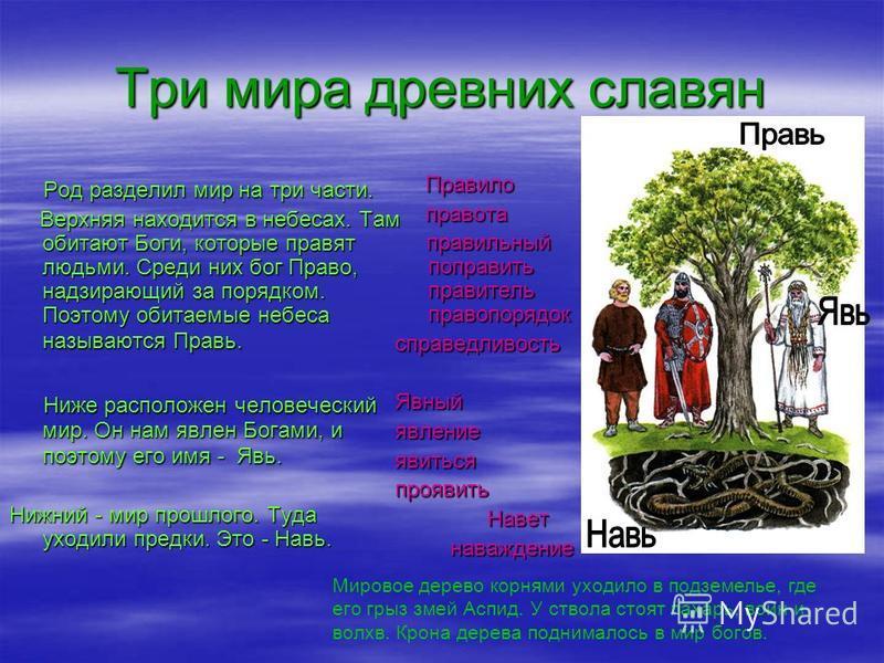 Три мира древних славян Род разделил мир на три части. Род разделил мир на три части. Верхняя находится в небесах. Там обитают Боги, которые правят людьми. Среди них бог Право, надзирающий за порядком. Поэтому обитаемые небеса называются Правь. Верхн
