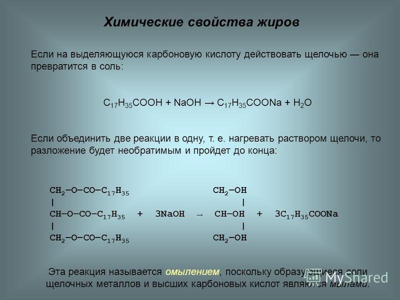 Химические свойства жиров Если на выделяющуюся карбоновую кислоту действовать щелочью она превратится в соль: C 17 H 35 COOH + NaOH C 17 H 35 COONa + H 2 O Если объединить две реакции в одну, т. е. нагревать раствором щелочи, то разложение будет необ