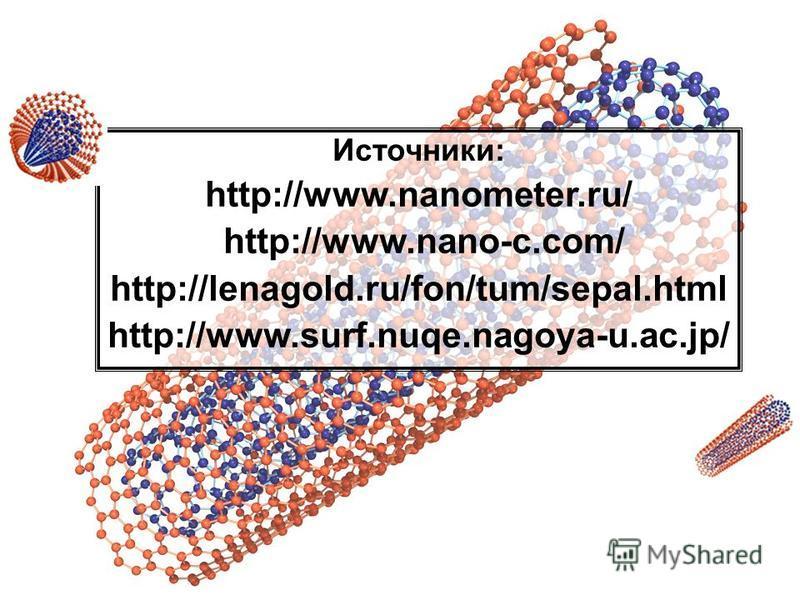 Источники: http://www.nanometer.ru/ http://www.nano-c.com/ http://lenagold.ru/fon/tum/sepal.html http://www.surf.nuqe.nagoya-u.ac.jp/