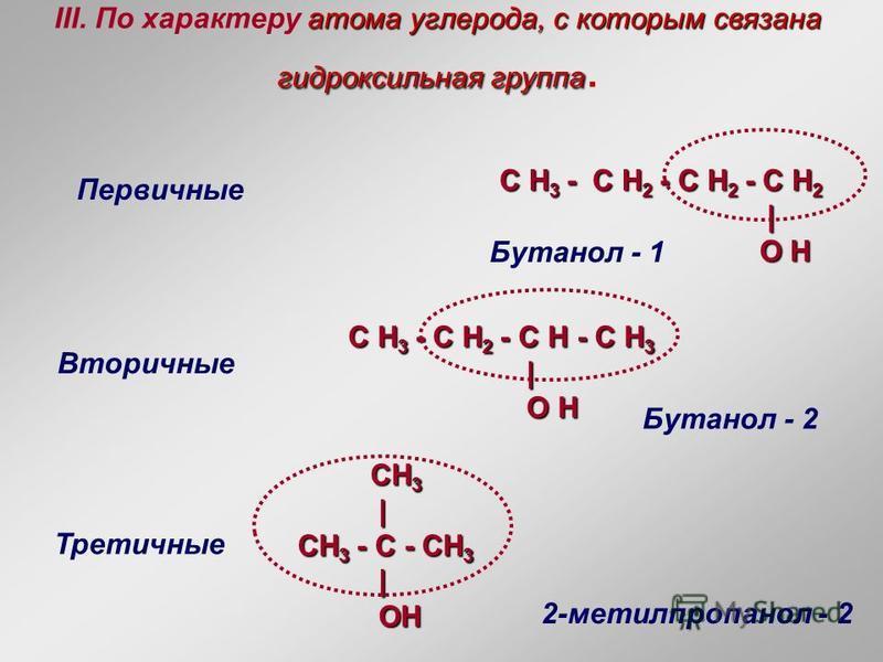 атома углерода, с которым связана гидроксильная группа III. По характеру атома углерода, с которым связана гидроксильная группа. Первичные Вторичные Третичные C H 3 - C H 2 - C H 2 - C H 2 | | O H O H C H 3 - C H 2 - C H - C H 3 | | O H O H CH 3 CH 3