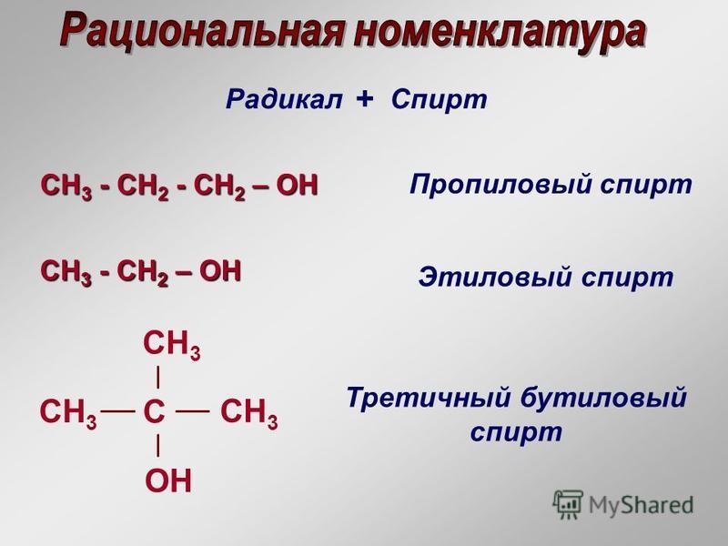 Радикал + Спирт CH 3 - СH 2 - CH 2 – OH CH 3 - СH 2 - CH 2 – OH Пропиловый спирт CH 3 - СH 2 – OH CH 3 - СH 2 – OH Этиловый спирт СH3СH3 С OH CH 3 СH3СH3 Третичный бутиловый спирт