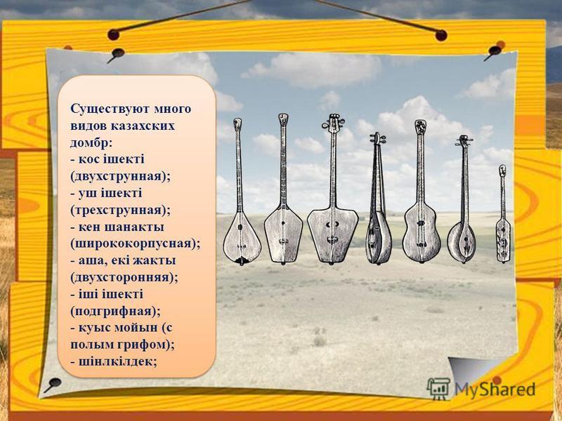 Существуют много видов казахских домбр: - кос iшектi (двухструнная); - yш iшектi (трехструнная); - кен шанакты (широко корпусная); - аша, екi жакты (двухсторонняя); - iii iшектi (подгрифная); - кyыс мойын (с полым грифом); - шiнлкiлдек;