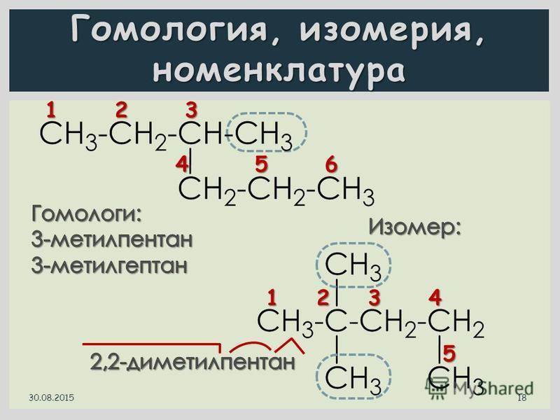 Гомология, изомерия, номенклатура 1 2 3 4 5 6 30.08.2015 18 1 2 3 4 5