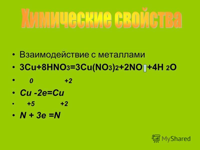 Взаимодействие с металлами 3Cu+8HNO 3 =3Cu(NO 3 ) 2 +2NO +4H 2 O 0 +2 Cu -2e=Cu +5 +2 N + 3e =N