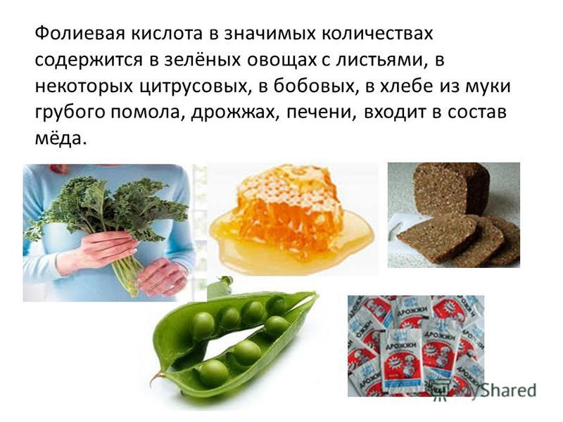 Фофолиевая кислота в значимых количествах содержится в зелёных овощах с листьями, в некоторых цитрусовых, в бобовых, в хлебе из муки грубого помола, дрожжах, печени, входит в состав мёда.