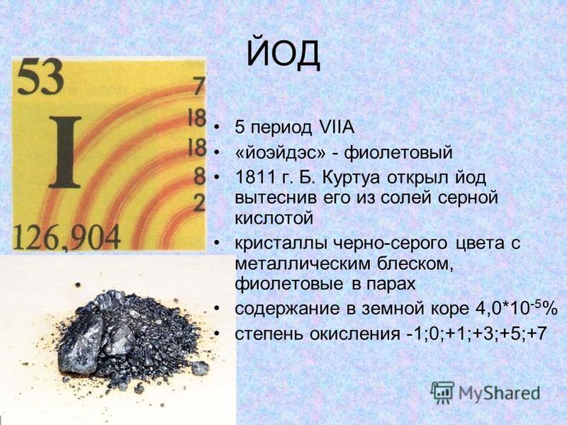 ЙОД 5 период VIIA «йоэйдэс» - фиолетовый 1811 г. Б. Куртуа открыл йод вытеснив его из солей серной кислотой кристаллы черно-серого цвета с металлическим блеском, фиолетовые в парах содержание в земной коре 4,0*10 -5 % степень окисления -1;0;+1;+3;+5;