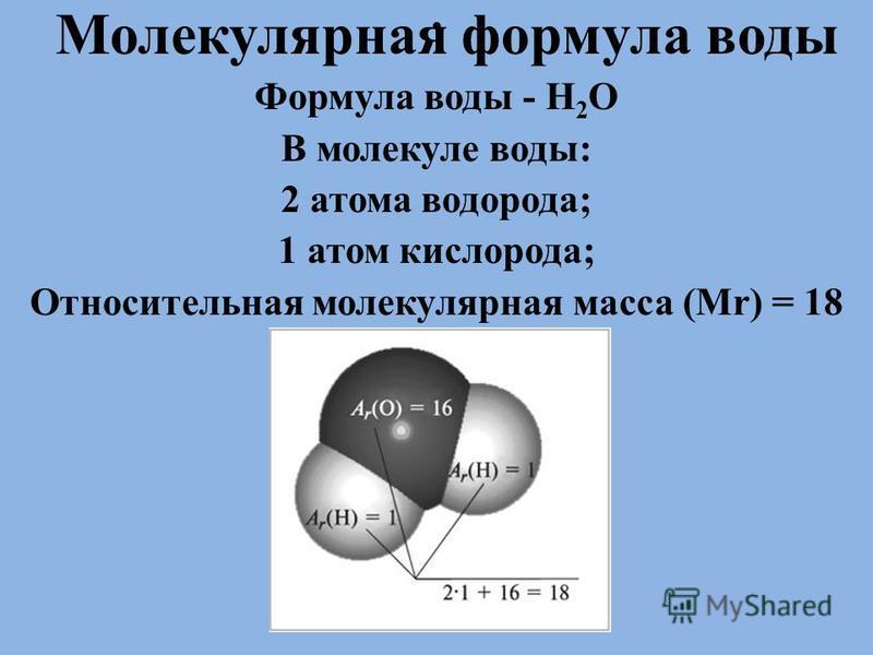 . Молекулярная формула воды Формула воды - Н 2 О В молекуле воды: 2 атома водорода; 1 атом кислорода; Относительная молекулярная масса (Mr) = 18