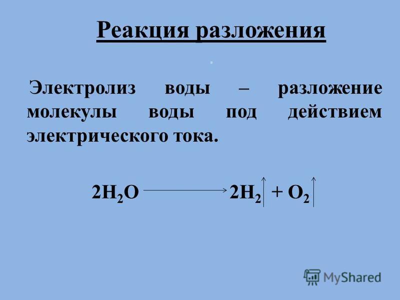 Реакция разложения. Электролиз воды – разложение молекулы воды под действием электрического тока. 2H 2 O 2H 2 + O 2