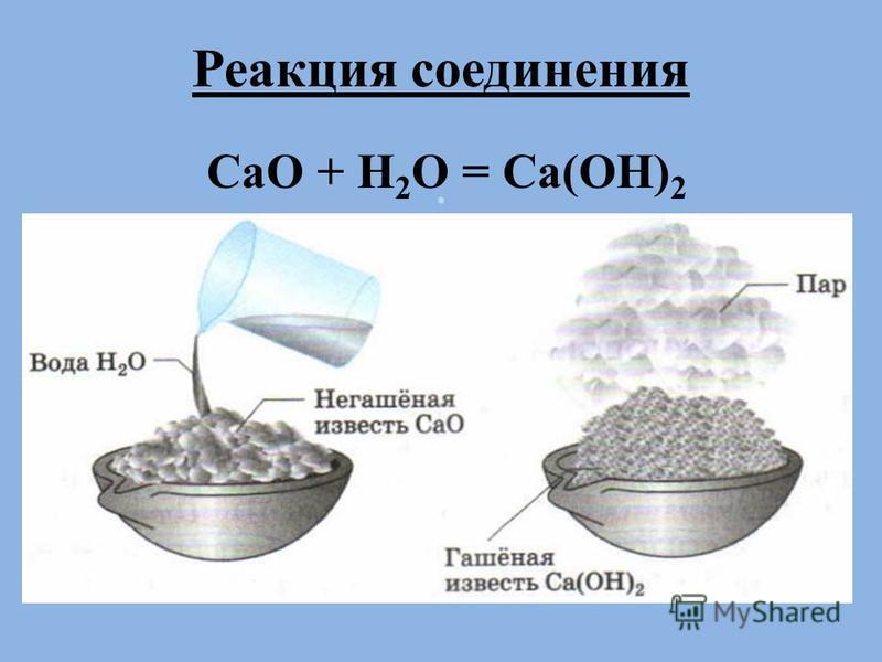 . Реакция соединения CaO + H 2 O = Ca(OH) 2