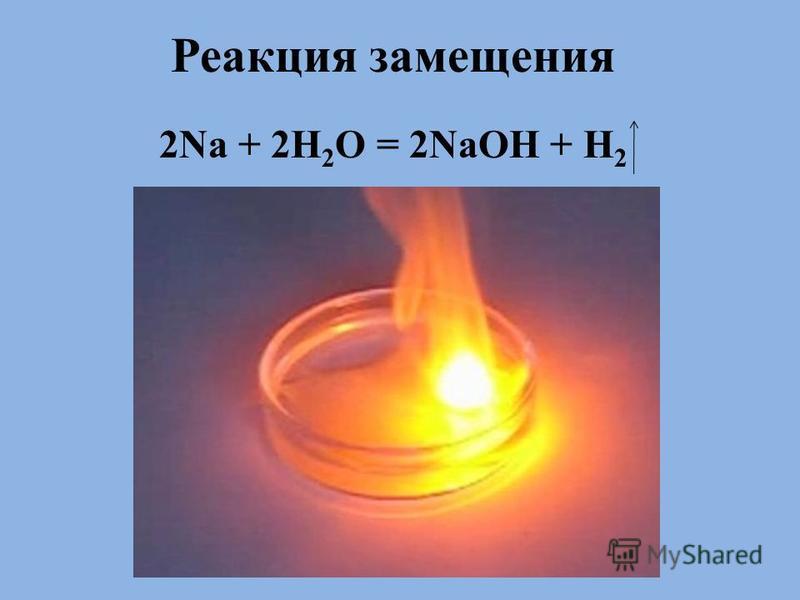 . Реакция замещения 2Na + 2H 2 O = 2NaOH + H 2