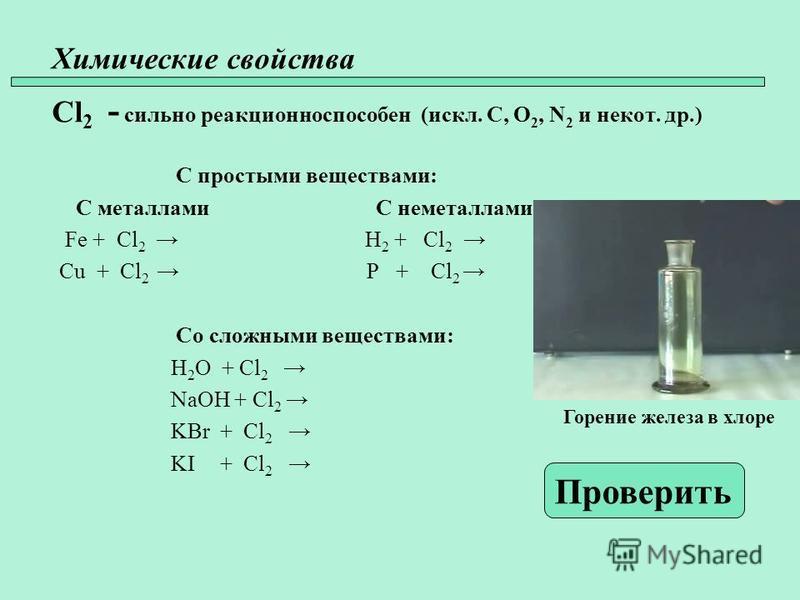 Химические свойства Cl 2 - сильно реакционно способен (искл. C, O 2, N 2 и не кот. др.) С простыми веществами: С металлами С неметаллами Fe + Cl 2 H 2 + Cl 2 Cu + Cl 2 P + Cl 2 Со сложными веществами: H 2 O + Cl 2 NaOH + Cl 2 KBr + Cl 2 KI + Cl 2 Про