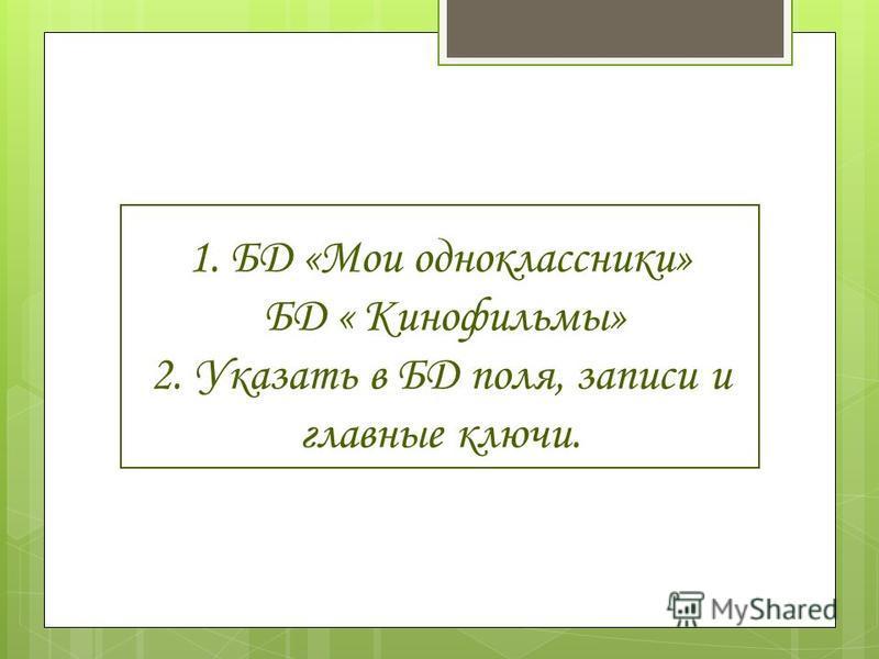 1. БД «Мои одноклассники» БД « Кинофильмы» 2. Указать в БД поля, записи и главные ключи.