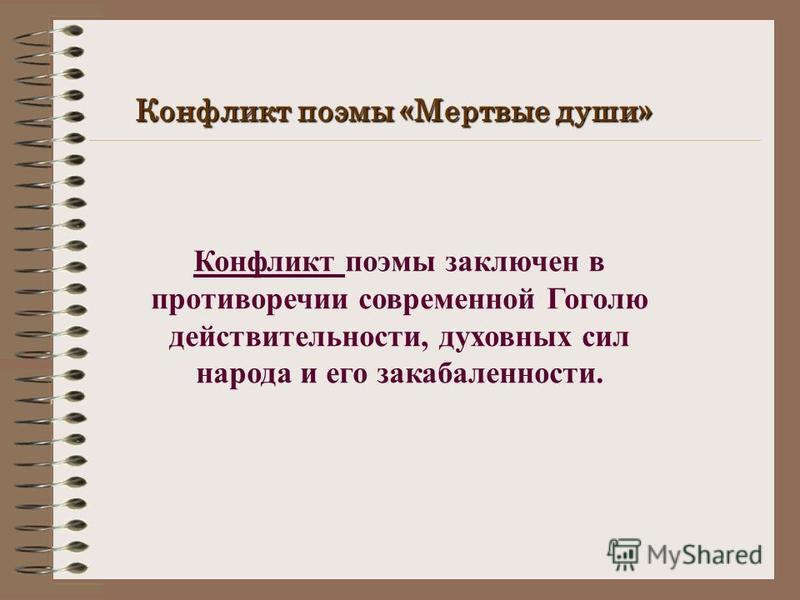 Конфликт поэмы «Мертвые души» Конфликт поэмы заключен в противоречии современной Гоголю действительности, духовных сил народа и его закабаленности.