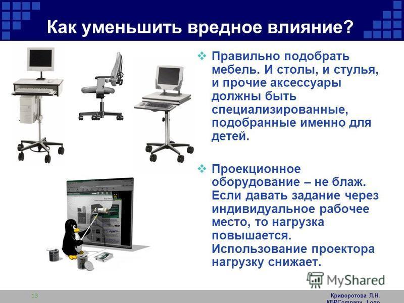 Криворотова Л.Н. КБРCompany Logo 13 Как уменьшить вредное влияние? Правильно подобрать мебель. И столы, и стулья, и прочие аксессуары должны быть специализированные, подобранные именно для детей. Проекционное оборудование – не блаж. Если давать задан
