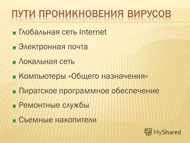 Глобальная сеть Internet Электронная почта Локальная сеть Компьютеры «Общего назначения» Пиратское программное обеспечение Ремонтные службы Съемные накопители