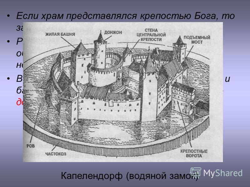 Если храм представлялся крепостью Бога, то замок – крепостью рыцаря. Романские каменные замки с мощными оборонительными стенами были неприступными крепостями Внутри замка находились жилые постройки и башнеобразное каменное жилище феодала - донжон Кап