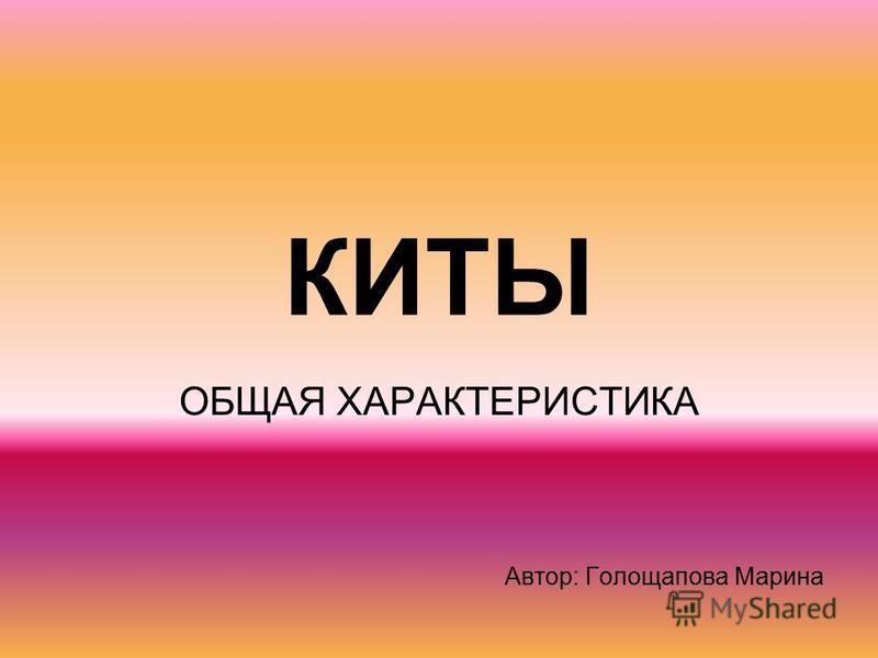 КИТЫ ОБЩАЯ ХАРАКТЕРИСТИКА Автор: Голощапова Марина