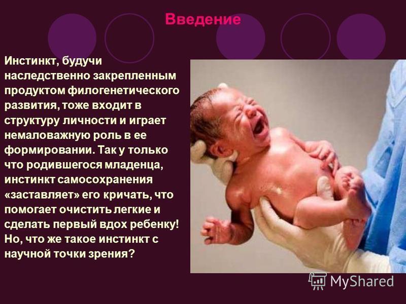 Введение Инстинкт, будучи наследственно закрепленным продуктом филогенетического развития, тоже входит в структуру личности и играет немаловажную роль в ее формировании. Так у только что родившегося младенца, инстинкт самосохранения «заставляет» его
